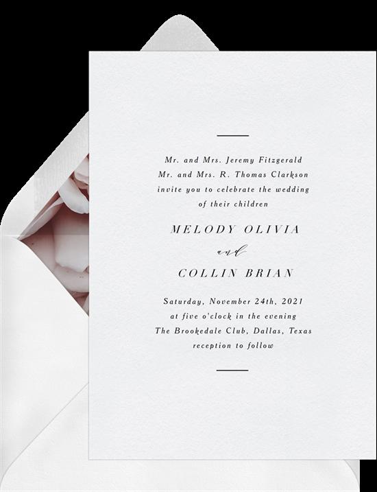 Estella modern wedding invitations from Greenvelope