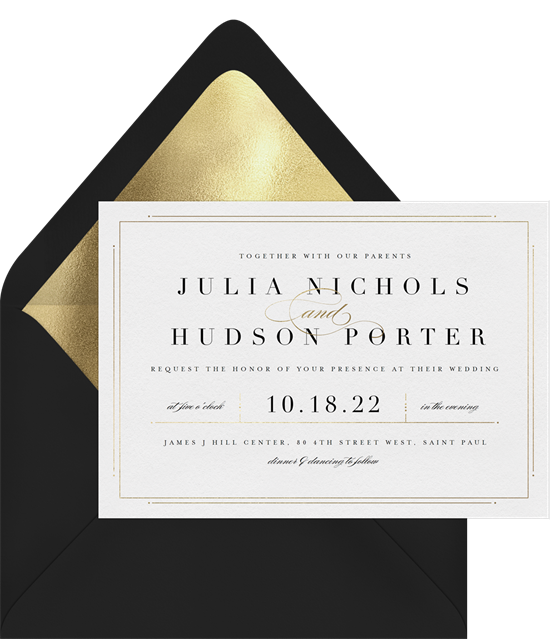 Delicate Border modern wedding invitations from Greenvelope