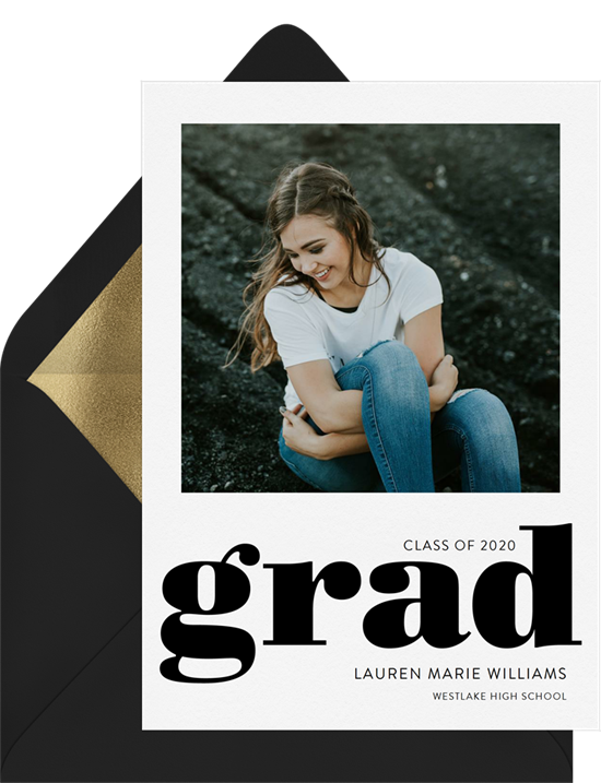 Squared Away college graduation announcements from Greenvelope