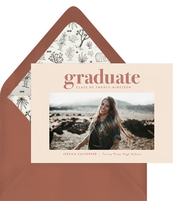 Bold college graduation announcements from Greenvelope