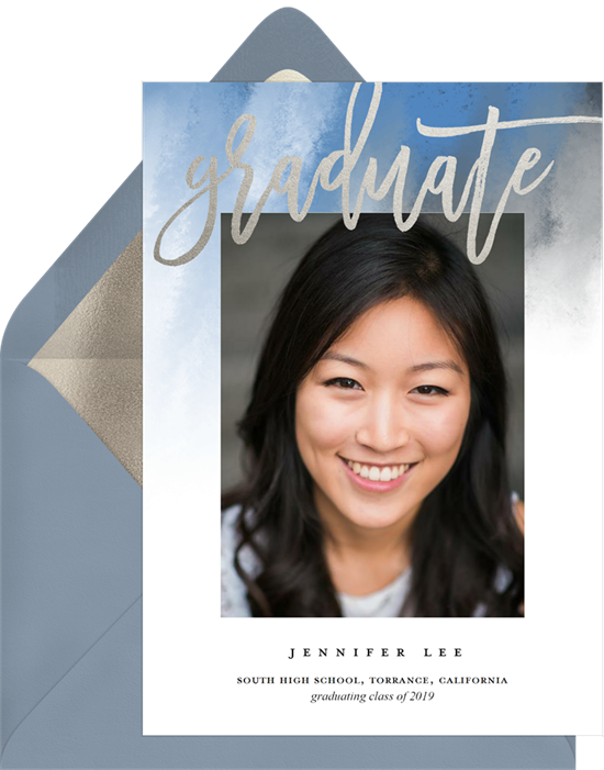 Modern Brush Script high school graduation announcements from Greenvelope