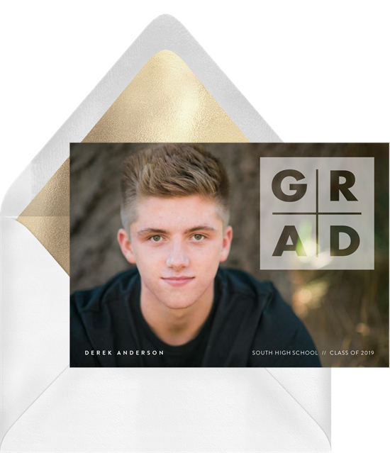 Mod Overlay high school graduation announcements from Greenvelope
