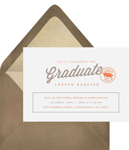 Stamp of Approval high school graduation announcements from Greenvelope