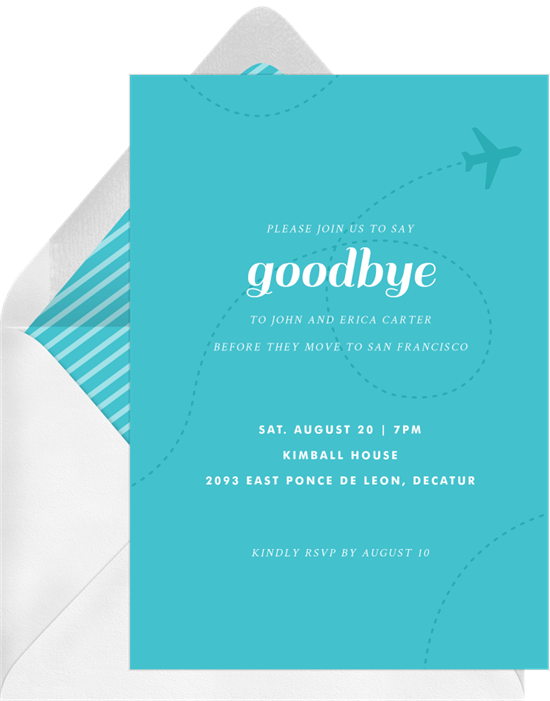 Fly Away going away party invitation from Greenvelope