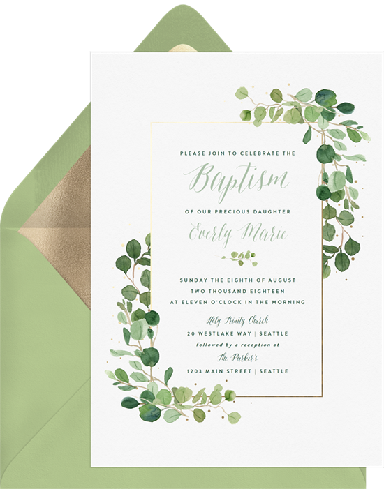 Delicate Greenery confirmation invitations from Greenvelope