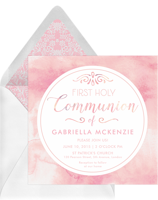 Watercolor Communion confirmation invitations from Greenvelope