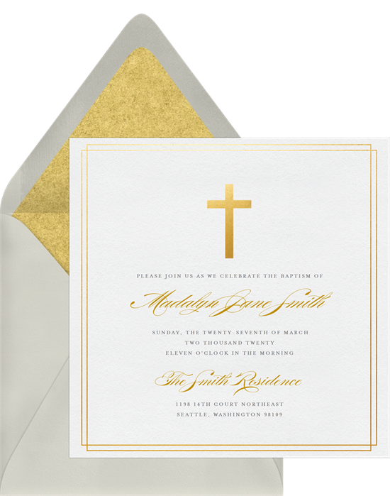 Simple Cross confirmation invitations from Greenvelope