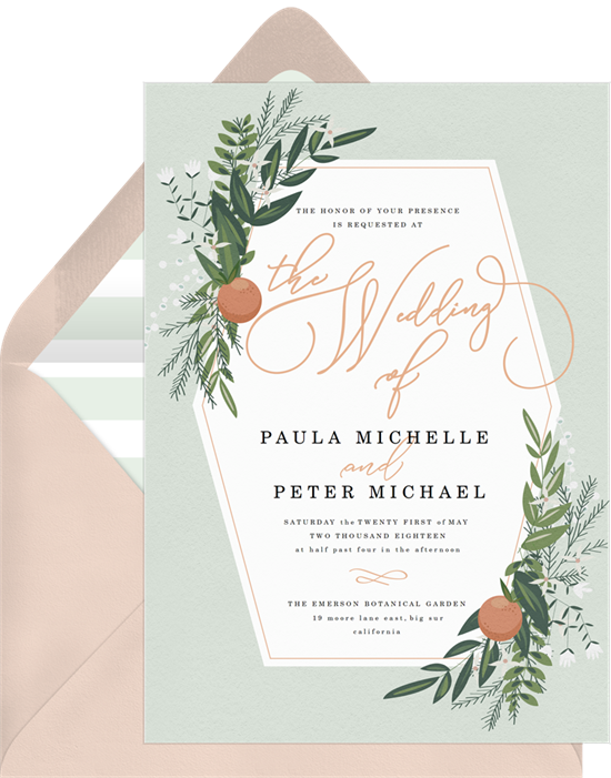 The Rustic Citrus all-in-one wedding invitations from Greenvelope