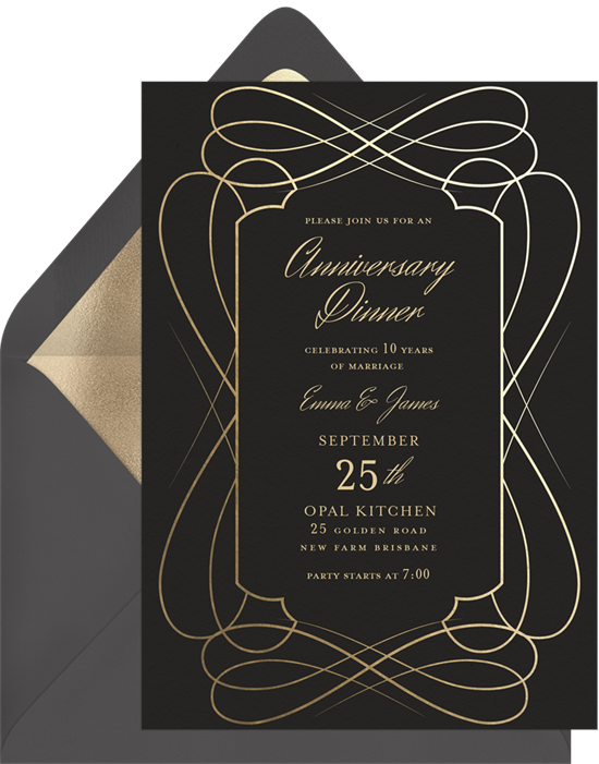 Costumes & Cocktails anniversary invitations from Greenvelope