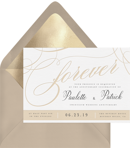 Beautiful Forever anniversary invitations from Greenvelope
