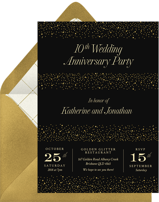 Shimmery Surprise anniversary invitations from Greenvelope