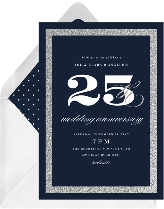 Silver Celebration anniversary invitations from Greenvelope