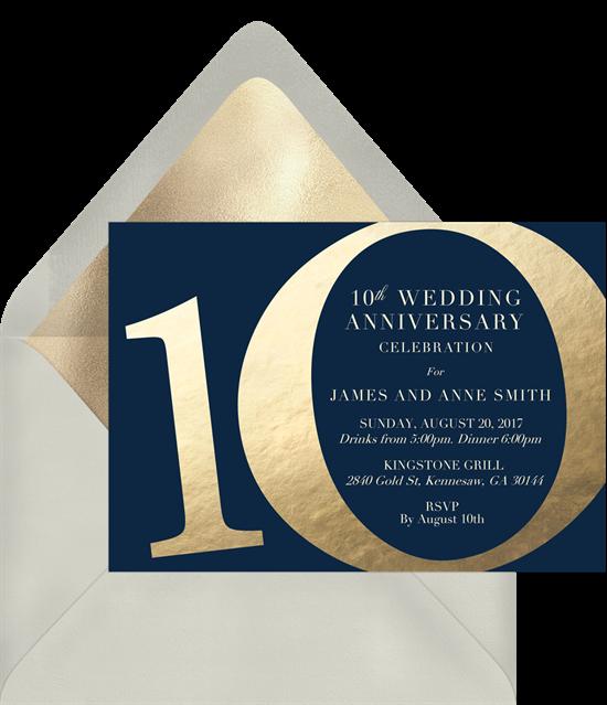 Golden Decade anniversary invitations from Greenvelope