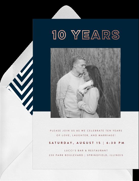 Bronze Statement anniversary invitations from Greenvelope