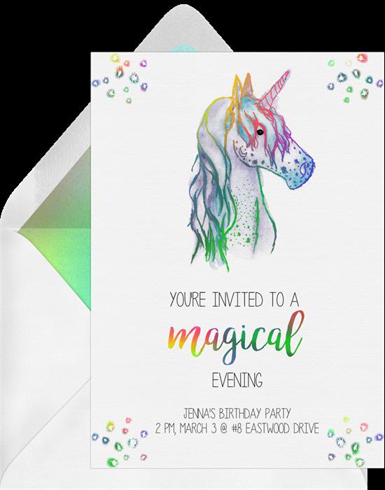 Magical Unicorn invitations from Greenvelope