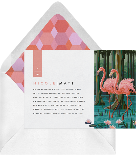The Everglades all-in-one wedding invitations from Greenvelope