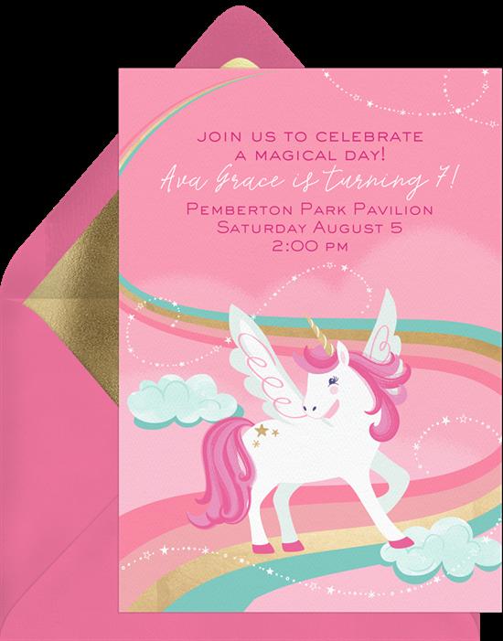 Unicorn Magic invitations from Greenvelope