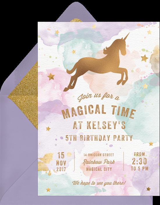 Whimsical Unicorn invitations from Greenvelope