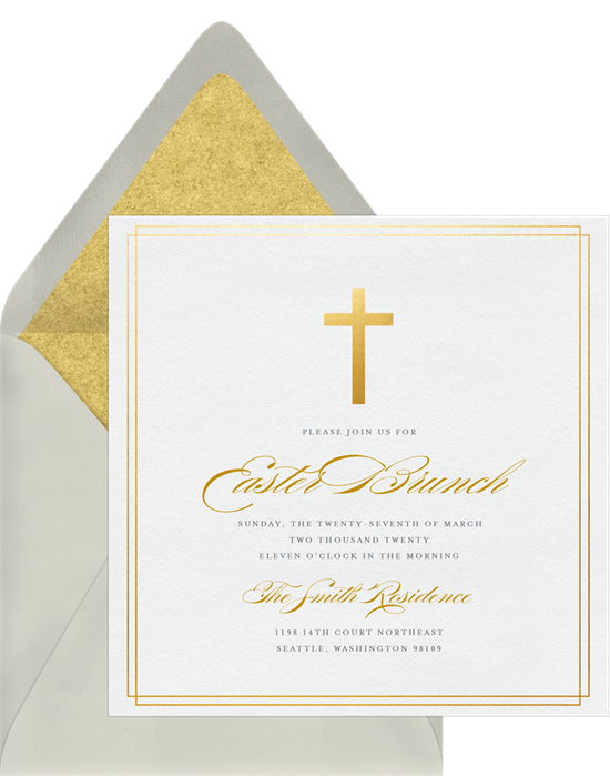 A gold cross card perfect for religious Easter card messages