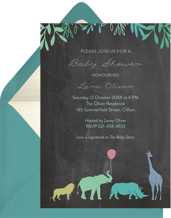 Safari Mama elephant baby shower invitations from Greenvelope