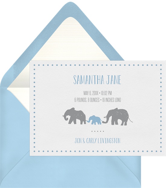 New Baby Elephant baby shower invitations