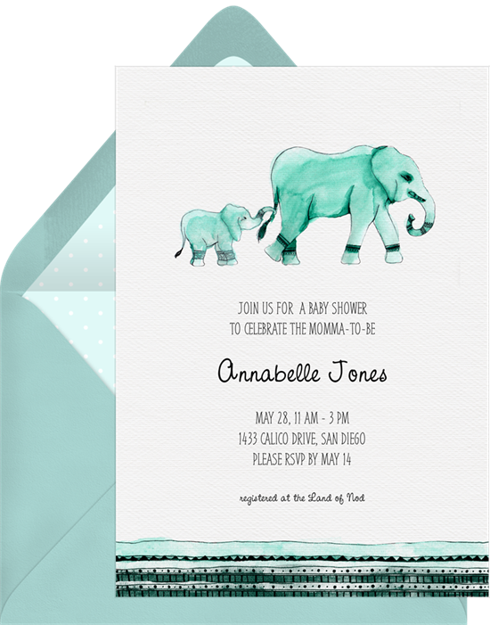 Mama & Baby elephant baby shower invitations from Greenvelope