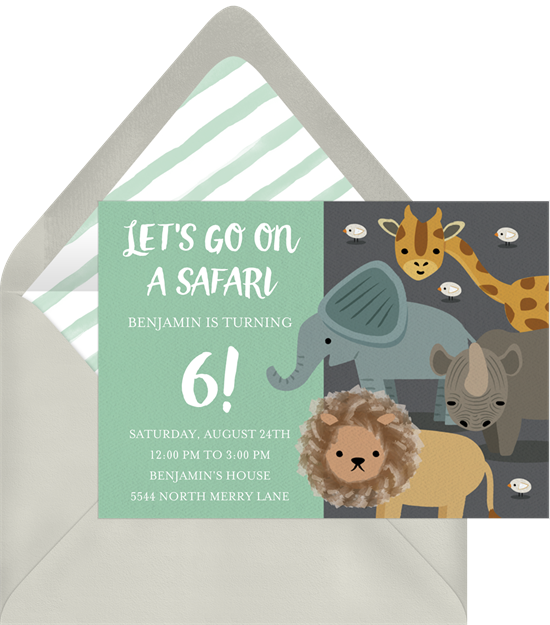 Safari Party elephant baby shower invitations from Greenvelope