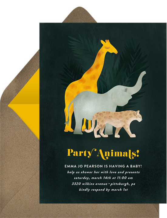 Safari Animals elephant baby shower invitations from Greenvelope