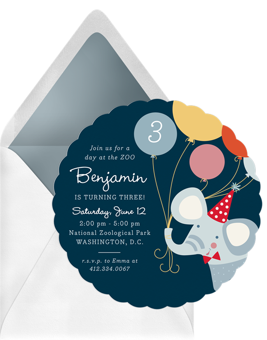 Happy Elephant baby shower invitations from Greenvelope