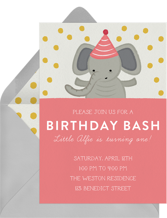 Party Elephant baby shower invitations from Greenvelope