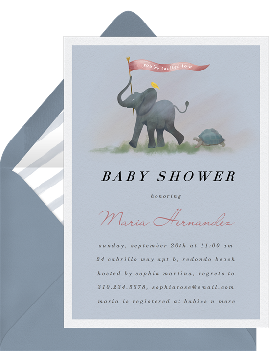 Animal Parade elephant baby shower invitations from Greenvelope