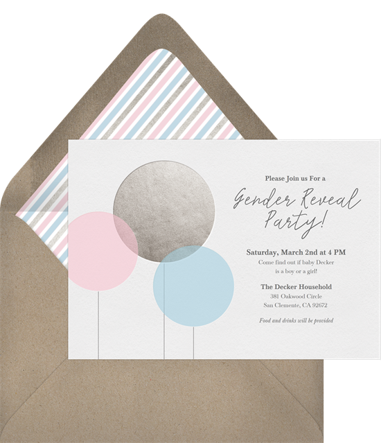 Baby Balloons Gender Reveal Invitations