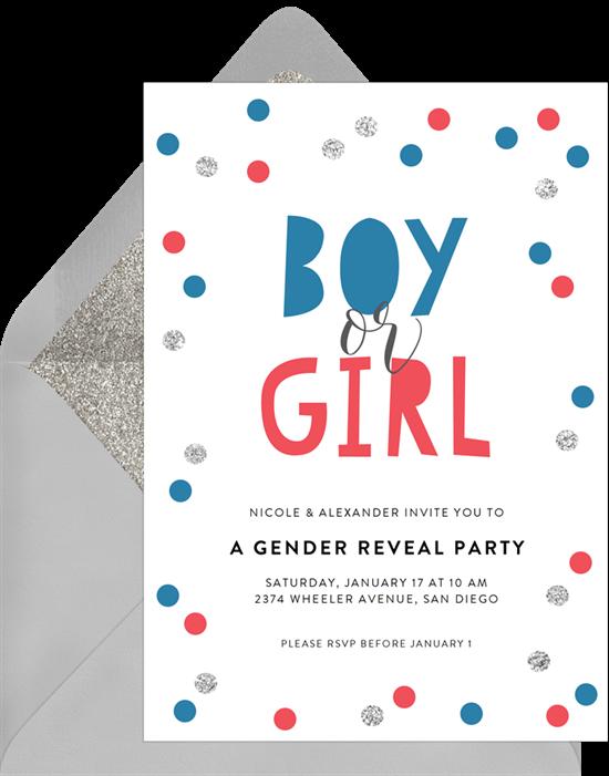 Whimsy gender reveal invitations from Greenvelope