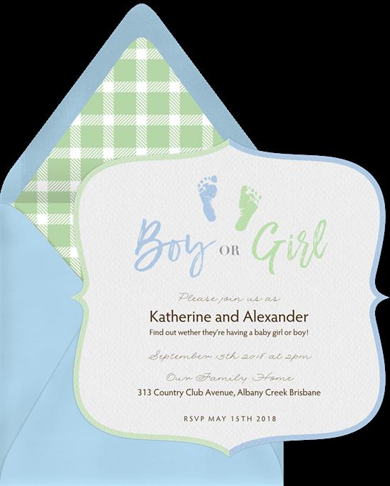 Baby Footprints gender reveal invitations from Greenvelope