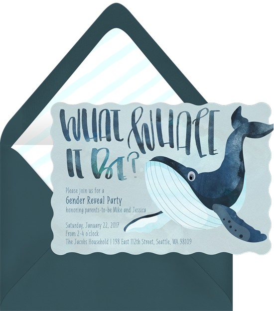 What Whale It Be gender reveal invitations from Greenvelope