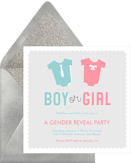 Boy or Girl gender reveal invitations from Greenvelope