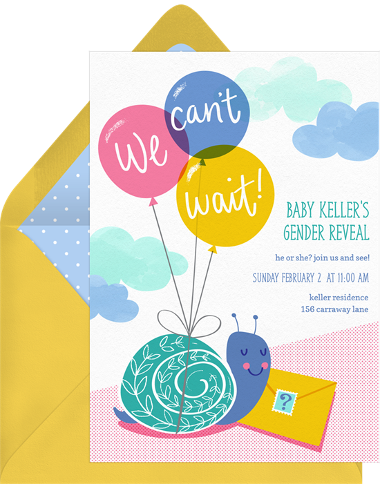 We Can't Wait gender reveal invitations from Greenvelope