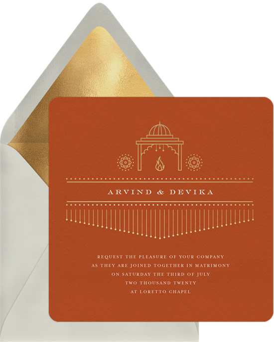 Saat Phera Indian wedding invitations from Greenvelope