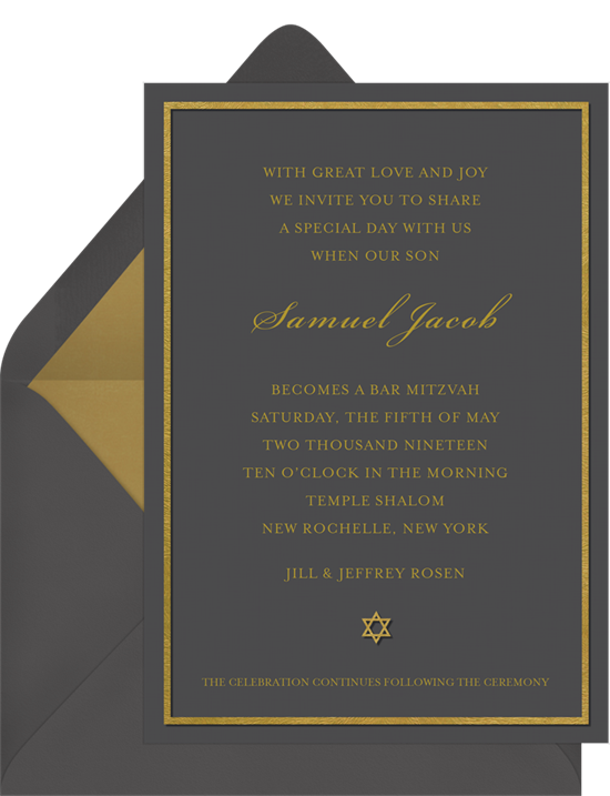 The Gilded Star Bar Mitzvah Invitations from Greenvelope