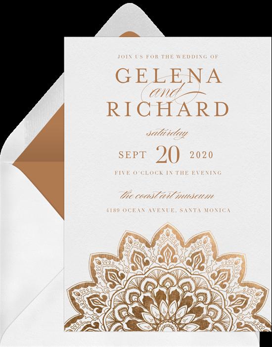 Metallic Mandala Indian wedding invitations from Greenvelope