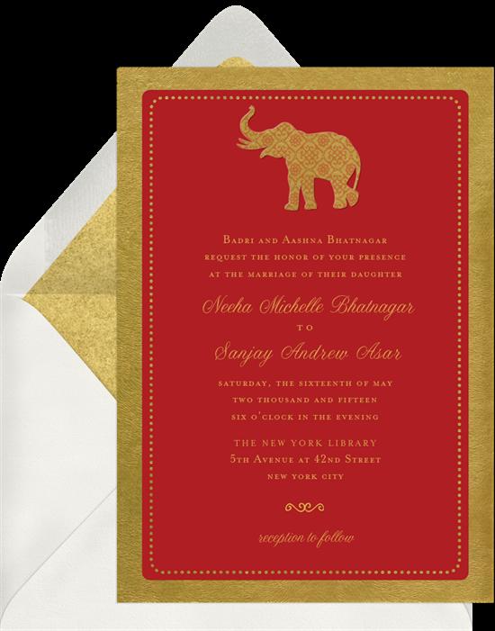 Gold Elephant Indian wedding invitations from Greenvelope