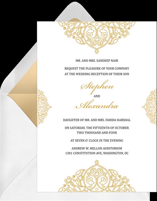 Edge Frill Indian wedding invitations from Greenvelope