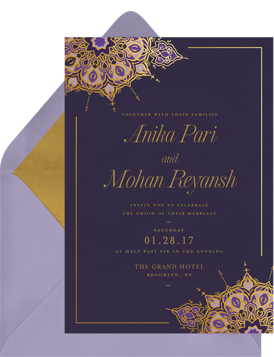 Magnificent Medallion Indian wedding invitations from Greenvelope