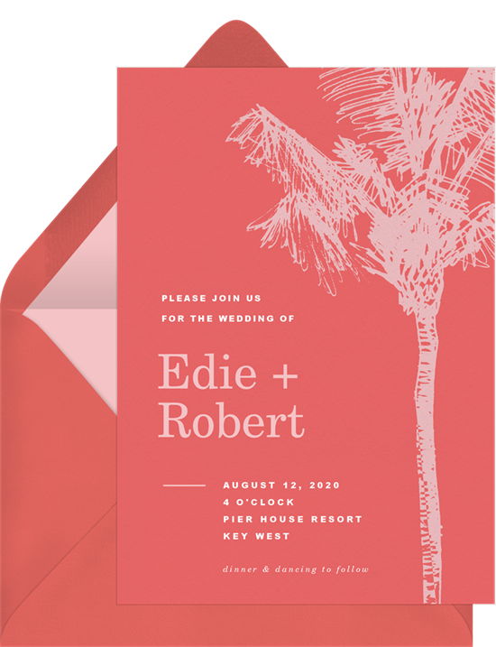 Palm Tree Sketch destination wedding invitations from Greenvelope