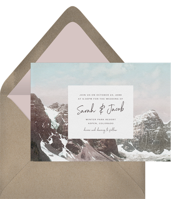 The Rockies destination wedding invitations from Greenvelope