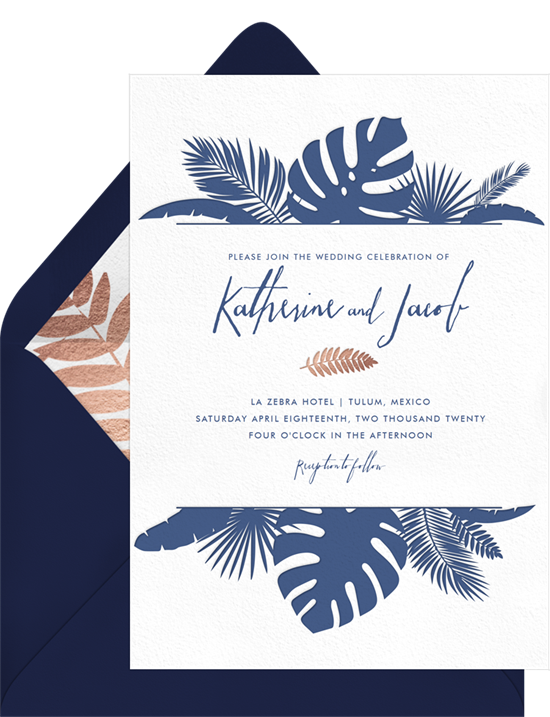 Modern Beach Botanicals destination wedding invitations from Greenvelope