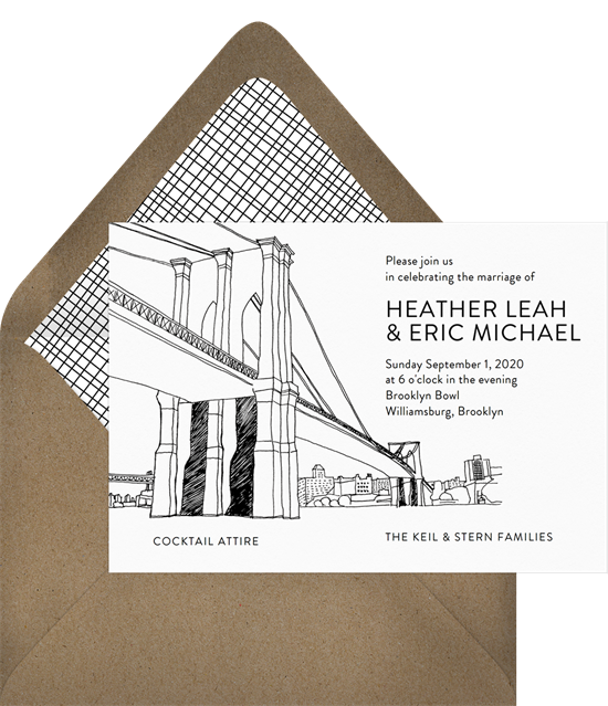Brooklyn Bridge destination wedding invitations from Greenvelope