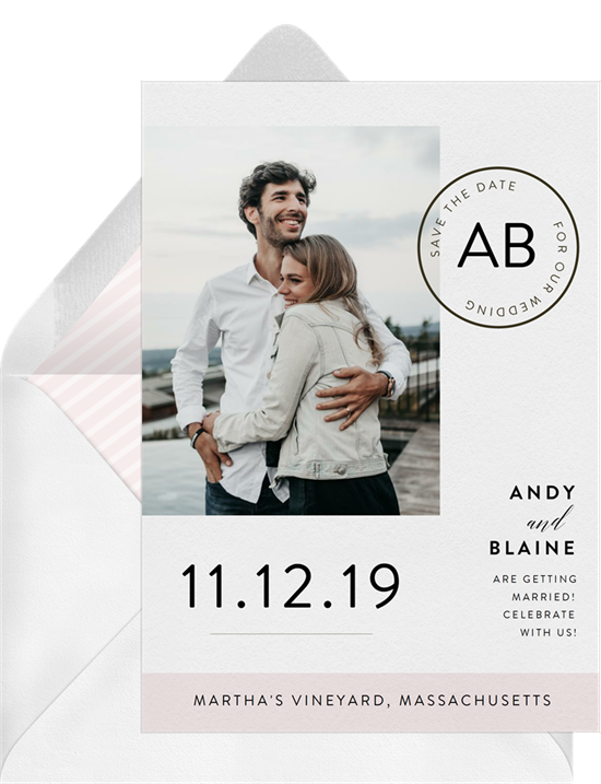 Postmark destination wedding invitations from Greenvelope