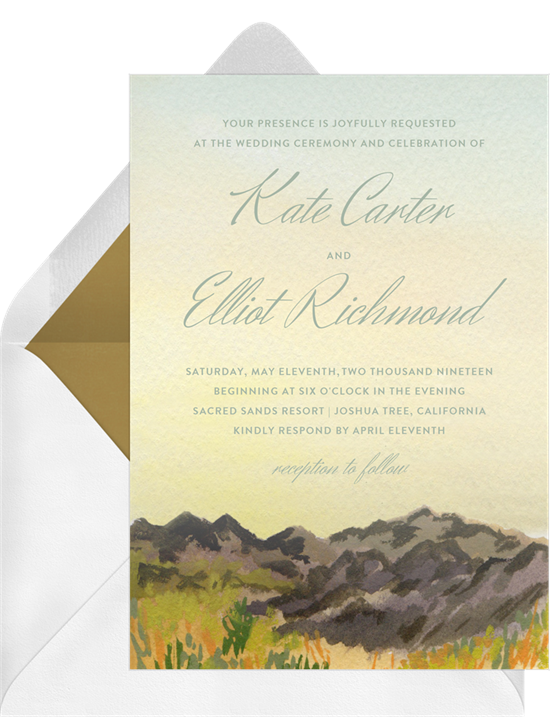Golden Hour destination wedding invitations from Greenvelope