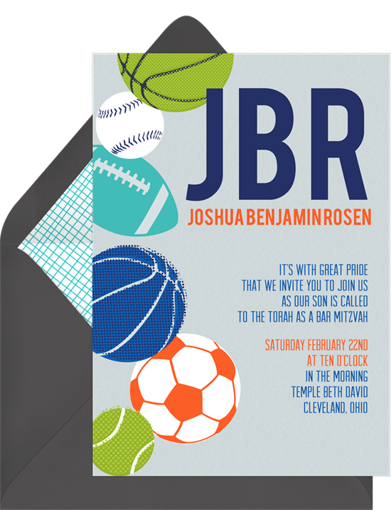 The Sports Fan Bar Mitzvah Invitations from Greenvelope